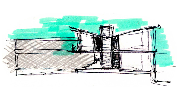 Architectural sketch of a building
